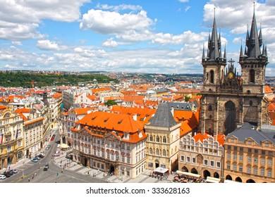 PRAGUE, CZECH REPUBLIC - JUNE 28, 2015: Tyn Cathedral on the Oldtown Square in Prague. Czech Republic