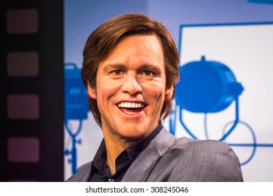 PRAGUE, CZECH REPUBLIC - JUNE 29, 2015: Jim Carrey  in the Madame Tussaud museum in Prague. Madame Tussaud museum is the museum of the wax figures
