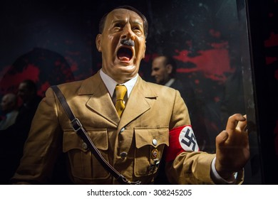 PRAGUE, CZECH REPUBLIC - JUNE 29, 2015: Adolf hitler statue in the Madame Tussaud museum in Prague. Madame Tussaud museum is the museum of the wax figures