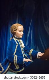 PRAGUE, CZECH REPUBLIC - JUNE 29, 2015: Wolfgang Amadeus Mozart,  Historical section of the Grevin museum. Grevin is the museum of the wax figures in Prague