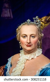 PRAGUE, CZECH REPUBLIC - JUNE 29, 2015: Maria THeresia of Habsburg, Historical section of the Grevin museum. Grevin is the museum of the wax figures in Prague
