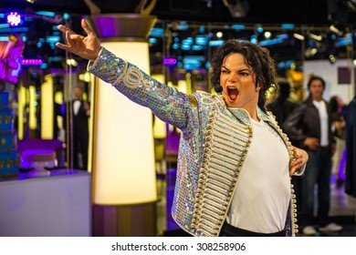 PRAGUE, CZECH REPUBLIC - JUNE 29, 2015: Michael Jackson, the singer, Grevin museum. Grevin is the museum of the wax figures in Prague