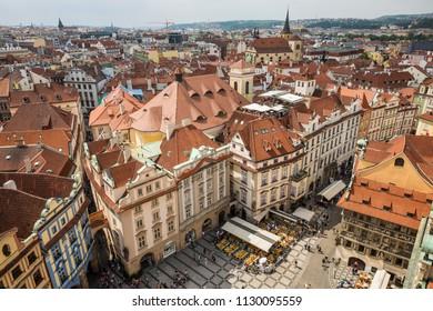PRAGUE, CZECH REPUBLIC - JUNE 3, 2018: Aerial view of Prague Old Town square. Famous tourist destination on 03 June, 2018