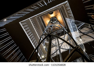 PRAGUE, CZECH REPUBLIC - JUNE 3, 2018: Stairway of Old town hall Tower in Prague on 03 June, 2018