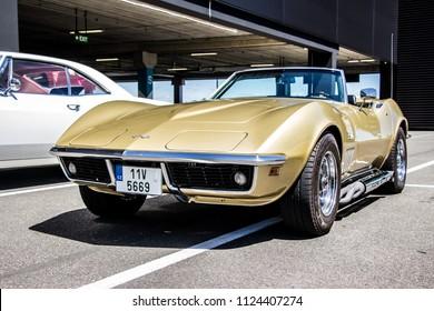 Prague, Czech Republic - June 30th 2018: Gold Chevrolet Corvette Stingray (1969) at Golden Cars meets up with Classic Drive.