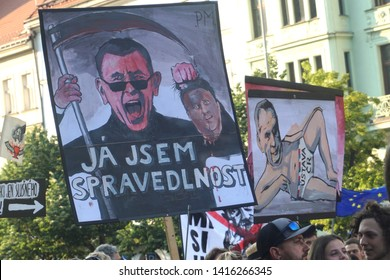 Prague / Czech Republic - June 4 2019: Wenceslas square: 120 thousand people protesting at a demonstration/protest against czech prime minister Babis. Hand drawn caricatures of Babis and Zeman
