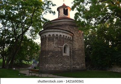 Prague / Czech Republic - June 5 2019:  Medieval rotunda of St. Martin at Vysehrad on a summer evening. The oldest and largest rotunda in Prague is from 11th century