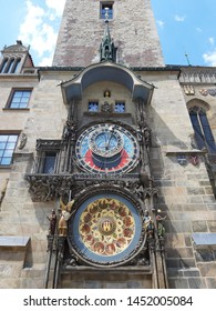 Prague, Czech Republic - June 5, 2019: The Prague Astronomical Clock, or Prague Orloj, a medieval astronomical clock is located at the southern side of Old Town Hall Tower on Old Town Square