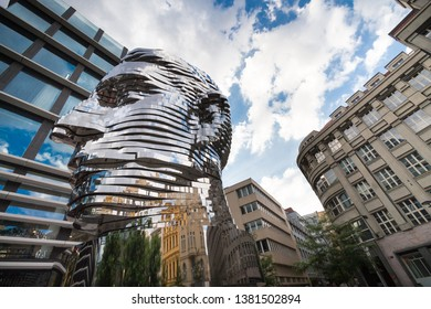Prague, Czech Republic - June 7, 2018: The Head of Franz Kafka (also known as the Statue of Kafka) outdoor sculpture by David Cerny outside the Quadrio shopping centre.