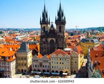 PRAGUE, CZECH REPUBLIC - June 8, 2006: Church of Virgin Maria Before Tyn, Prague, Czech republic. One of the main attractions of Prague.