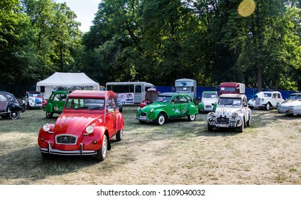 Prague, Czech Republic - June 8th 2018: Three Citroen 2CV at Legendy 2018.