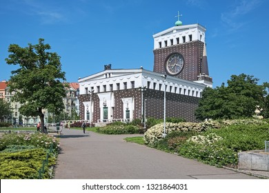 PRAGUE, CZECH REPUBLIC - JUNE 9, 2010: Church of the Most Sacred Heart of Our Lord in Vinohrady district. The church was built in 1928-1932 by design of the Slovene architect Joze Plecnik.