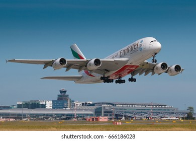 PRAGUE, CZECH REPUBLIC - JUNE 9: Airbus A380-800 Emirates take off from PRG Airport in Prague on June 9, 2017. Emirates is an airline based in Dubai.