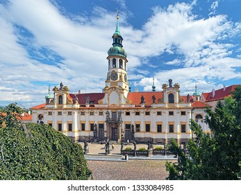 Prague, Czech Republic. Loreta, a pilgrimage destination in Hradcany district. The complex of buildings consists of a cloister, church of the Nativity and clock tower with chime.