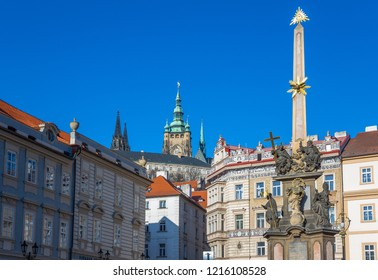 Prague, Czech Republic,  Mala Strana district, the Plague column and the palaces of Lesser square