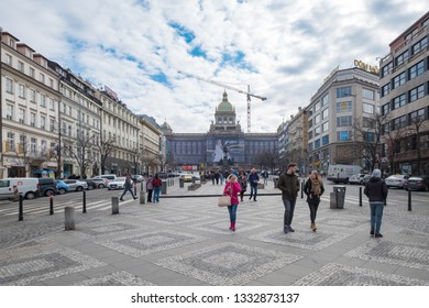 Prague, Czech Republic. March 10, 2018. View of the wenceslas square and the National Museum of Prague in the background