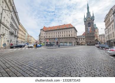 Prague, Czech Republic. March 10, 2018. View of the Jindřich Tower
