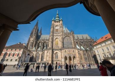 Prague, Czech Republic. March 11, 2018. Exterior view of St. Vitus Cathedral located inside the Prague Castle