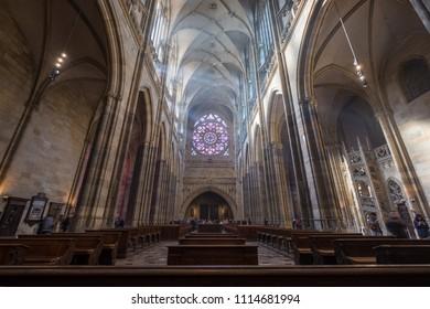 Prague, Czech Republic. March 11, 2018. Interior view of St. Vitus Cathedral located inside Prague Castle