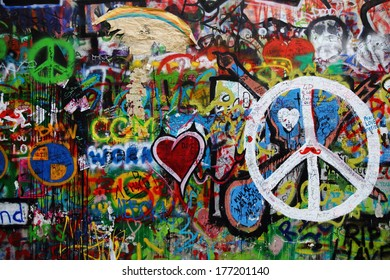 PRAGUE, CZECH REPUBLIC - MARCH 12:The Lennon Wall since the 1980 filled with John Lennon-inspired graffiti and texts from Beatles songs on March 12, 2012 in Prague, Czech Republic