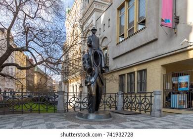 Prague, Czech Republic - March 15, 2017: Franz Kafka statue in the Jewish quarter by artist Jaroslav Rona.