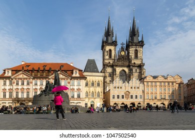 Prague, Czech Republic - March 17, 2017: Old Town Square and Cathedral in the historic city centre