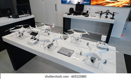 PRAGUE, CZECH REPUBLIC - MARCH 17, 2017: Official DJI store in Prague. DJI is the leading company in the civilian drone industry.