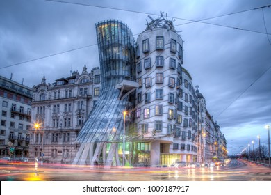 Prague, Czech Republic - March 18, 2017: Evening view of the Dancing House