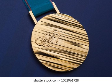 PRAGUE, CZECH REPUBLIC - MARCH 19, 2018: Gold Olympic medal of Ester Ledecka from Olympic Games in Pyeongchang during press conference in Prague, Czech republic, March 19, 2018.