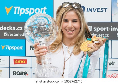 PRAGUE, CZECH REPUBLIC - MARCH 19, 2018: Two-time Olympic winner Ester Ledecka during press conference in Prague, Czech republic, March 19, 2018.