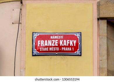 Prague, Czech Republic - March 19, 2017: Franz Kafka Road sign.