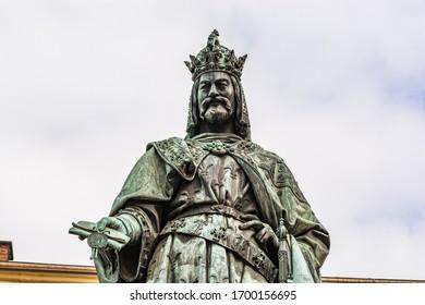 Prague, Czech republic - March 19, 2020. Statue of Charles IV - Karel IV - at Krizovnicke namesti by Charles bridge