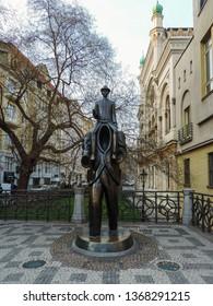 Prague, Czech Republic, March 2016 - view of famous monument deditacted to Franz Kafka