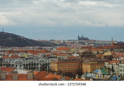 Prague, Czech Republic, March 2016 - Landscape view of Prague from Vysehrad, the  oldest seat of Czech princes