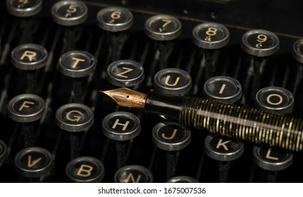 Prague, Czech republic, March 2020: Still life image of old Underwood typewriter with old Parker pen.