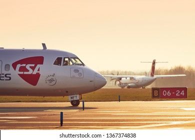 Prague, Czech Republic - March 29, 2019: Two turboprop airplanes ATR-72 of Czech Airlines (CSA) before take off from Vaclav Havel Airport Prague on March 29, 2019.