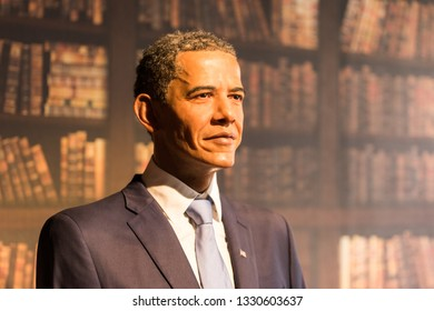 PRAGUE, CZECH REPUBLIC - MARCH 3, 2019: Barack Obama wax figure at Grevin museum in Prague. Barack Obama is an American attorney and politician who served as the 44th president of the United States