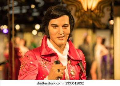 PRAGUE, CZECH REPUBLIC - MARCH 3, 2019: Elvis Presley wax figure at Grevin museum in Prague. Elvis Aaron Presley  was an American singer and actor, he is often referred to as the King of Rock and Roll