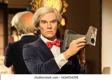 PRAGUE, CZECH REPUBLIC - MARCH 3, 2019: Andy Warhol wax figure at Grevin museum in Prague. Andy Warhol was an American artist, director and producer.