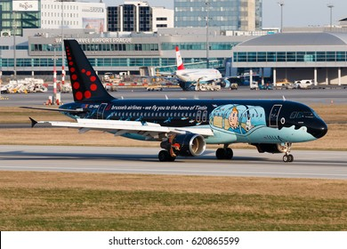 PRAGUE, CZECH REPUBLIC - MARCH 31: Airbus A320 of Brussels Airlines in special scheme of Tintin land to PRG Airport in Prague on March 31, 2017.