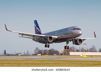 PRAGUE, CZECH REPUBLIC - MARCH 31: Airbus A320 of Aeroflot land to PRG Airport in Prague on March 31, 2017.Aeroflot is Russian flag carrier airline, is owned by the Russian government.