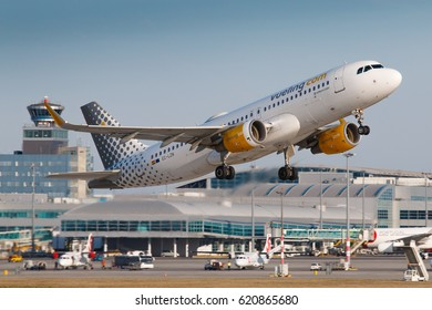 PRAGUE, CZECH REPUBLIC - MARCH 31: Airbus A320 of Vueling take off from PRG Airport in Prague on March 31, 2017. Vueling is a spanish low-cost airline.