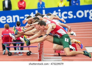 PRAGUE, CZECH REPUBLIC - MARCH 6, 2015: Balazs Baji (#187 Hungary) competes in the men's 60m hurdles event of the European Athletics Indoor Championship.