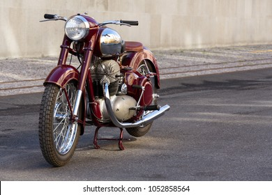 PRAGUE, CZECH REPUBLIC - MARCH 8 2018: Czech motorcycle Jawa 500 OHC from years 1952-1958 stands on road on March 8, 2018 in Prague, Czech Republic.