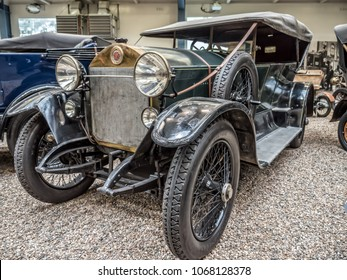 PRAGUE, CZECH REPUBLIC - MARCH 8 2017: Oldtimer Laurin & Klement RK-M, manufactured between 1913 and 1921, showcased in National Technical Museum of Prague, housing historical transportation exhibits