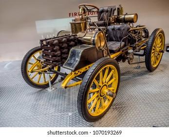 PRAGUE, CZECH REPUBLIC - MARCH 8 2017: Oldtimer racing car NW 12 HP Rennzweier from 1900, National Technical Museum of Prague