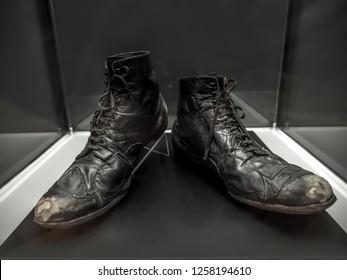 PRAGUE, CZECH REPUBLIC - MARCH 8 2017: Original Charlie Chaplin pair of tramp's shoes exhibited in the National Technical Museum of Prague, Czech Republic