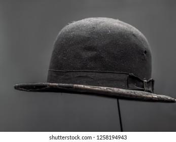 PRAGUE, CZECH REPUBLIC - MARCH 8 2017: Original Charlie Chaplin bowler hat exhibited in the National Technical Museum of Prague, Czech Republic