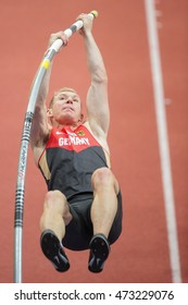 PRAGUE, CZECH REPUBLIC - MARCH 8, 2015: Arthur Abele (#158 Germany) competes in the men's pole vault event of the European Athletics Indoor Championship.