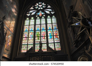 PRAGUE, CZECH REPUBLIC - MARCH 8, 2014:  Stained-glass window designed by Art Nouveau painter Alfons Mucha of Saint Vitus Cathedral in St. Vitus Cathedral, Czech Republic. on March 8, 2014